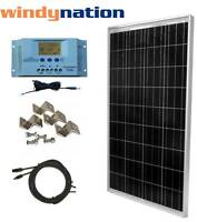 100 Watt 100W  Solar Panel Kit with LCD Solar Controller 12V RV Boat Off Grid