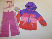 OBERMEYER SKI SNOW SUIT JACKET SET PANTS BIBS FLEECE UPPER HOOD I GROW GIRL'S 4