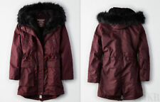 NWT American Eagle AE Womens Longer Length Sherpa Parka Jacket Coat Fur Hood