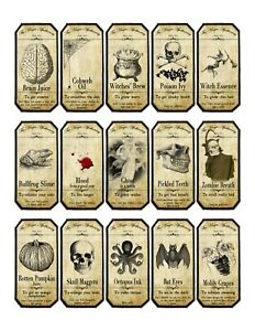 15 x Vintage Style Halloween Apothecary Labels, Water/Oil Proof Self Adhesive