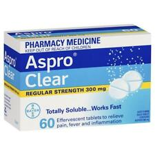 ツ ASPRO CLEAR 60 EFFERVESCENT TABLETS REGULAR STRENGTH ASPIRIN 300MG WORKS FAST