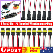 5 Sets 2 Pin Way 12V Electrical Wire Connector Plug Cable Waterproof Car ATV AU