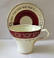 VINTAGE AYNSLEY CORSETED BURGUNDY & GOLD TEA CUP & SAUCER * 1930's