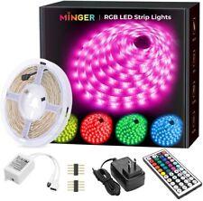 MINGER LED Strip Lights, 16.4ft RGB LED Light Strip 5050 LED Tape Lights, Color
