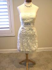 NWT N 1164 Sue Wong flower 3D lace cut out IVORY short cocktail social dress 6