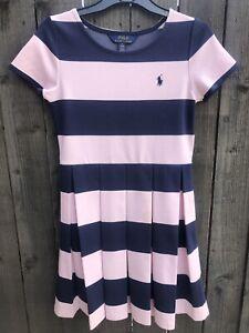 Girls Polo Ralph Lauren Stripe Dress Size 8-10 Years