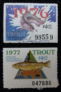 1976 and 1977 Missouri Trout Fishing Stamps - Used
