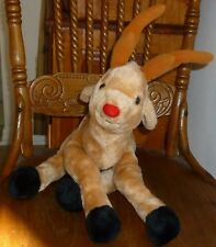 "Vtg Plush Unique RUDOLF * Red Nosed REINDEER 13"" tall seated Long Floppy Legs"