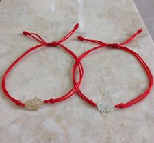 2 Pcs Sterling Silver Hamsa Hand  Evil Eye Red Cord Bracelet