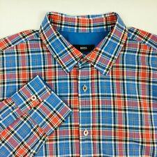 Hugo Boss Mens Slim Fit L/S Button Down Shirt Size Large Blue Red Plaid