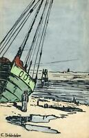 VINTAGE Old Photochromie Sailing Boat Postcard Series 238 #3835 by E. SCHONLEBER