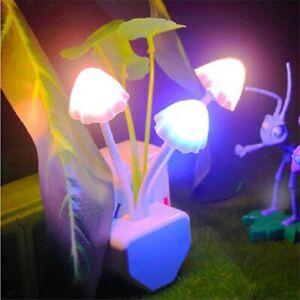 Romantic LED Night Lights Mushroom Light Sensor EU Plug-in Wall Lamps Home Decor