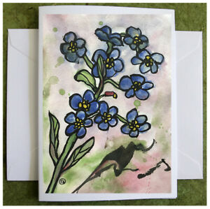 Forget-Me-Not, Hand Painted Watercolor Greeting Card Original Flower Painting