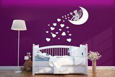 FATA Personalizzato, Luna & CUORI Wall Art Decalcomania Bambini Decor Sticker Vinyl Nursery