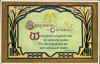 Frohe Ostern Fest Glückwunschkarte um 1910 mit Segensspruch Segen Happy Easter