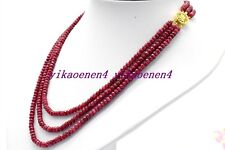 """Natural 3 Row Red Ruby 2x4mm Faceted Rondelle Gems Beads Necklace 17""""-19"""""""