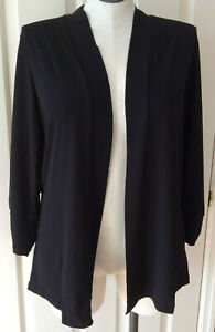 CJ BANKS Easy Wear Ruched 3/4 Sleeve Black Open Front Cardigan ~ Sz 1X (NWT-$50)