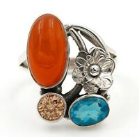 Natural Orange Carnelian 925 Sterling Silver Ring Jewelry Sz 6.5, CD13-3