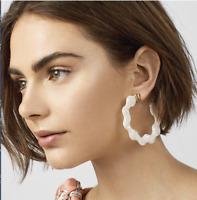Acrylic Resin Leopard Print White Hoop COS Style Earrings Xmas Gift Idea