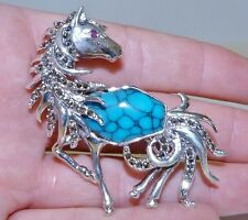GENUINE! Arizona Turquoise, Marcasite & Ruby Horse Brooch Solid S/Silver 925