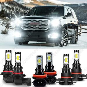 For GMC Yukon XL 2015-2019 Combo LED Headlight High/Low Beam+Fog Lights Bulb Kit