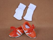 Doll  Shoes fitting 18 in & American Girl Orange & White Tennis Shoes & Socks!