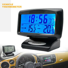 Car Auto LCD Digital Clock Thermometer Indoor Outdoor Temperature LED Backlight