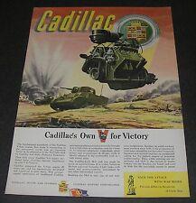 Print Ad 1943 CADILLAC WWll Battle ART John Vickery M-5 Tank Battlefield Combat