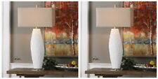 "TWO MODERN 35"" CHALK WHITE CERAMIC TABLE LAMP BRUSHED NICKEL CRYSTAL BASE"