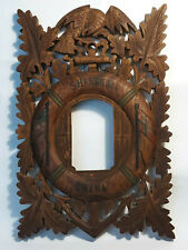 Shanghai China Carved Wood Folk Art Picture Frame Eagle Usa Norway Flags Soldier