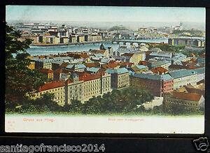 CZECHOSLOVAKIA 01-PRAHA -Gruss aus Prag. Blick vom Kinskygarien (Undivided Back)