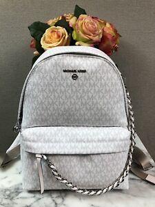 NWT Michael Kors Slater Medium Logo Backpack Bright White W/ Dust Bag