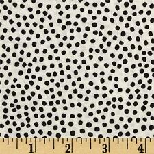 Fabric Dots Bitty Scattered Black on Eggshell Cotton by the 1/4 yd