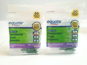 2 Equate 20 Interdental Brush Cleaners Easy Use Hard To Reach Teeth Spaces NEW