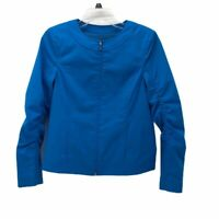 Doncaster Womens Jacket Coat Blue Zip Up Ruched Sleeve Crew Neck Stretch 2