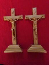 "2 CATHOLIC  CRUCIFIXES &CROSS STAND  .plastic 9""high"