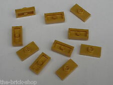 10 LEGO PearlLtGold Plates 1 x 2 with 1 Stud ref 3794 / 6243 7627 10193 7621...