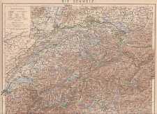 Schweiz Waadt Schwyz Landkarte von 1886 Brenner Graubünden Luzern