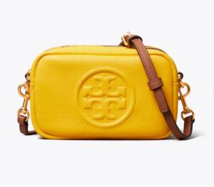 New w Tags Lemon Drop Yellow Tory Burch Perry Bombe Mini Bag w. Straps MSRP $248