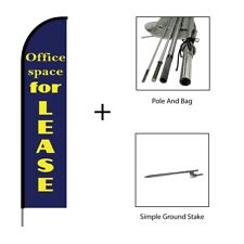 Office Space for Lease Real Estate Feather Flag Swooper Banner Pole Kit Sign 15'