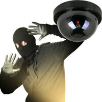 1Pc Dummy Fake Surveillance Cctv Security Dome Camera Led Light Flashing Mode I2
