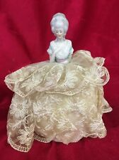 Antique Porcelain Half Doll Sewing Pin Cushion