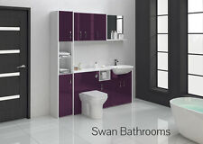 AUBERGINE GLOSS BATHROOM FITTED FURNITURE 1800MM WITH WALL UNITS
