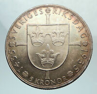 1935 SWEDEN w Riksdag KING Gustav V SWEDISH Antique Silver 5 Kronor Coin i80113