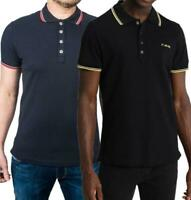Diesel Mens Classic Cotton Pique Polo Shirt Short Sleeve Black Navy Collared Top