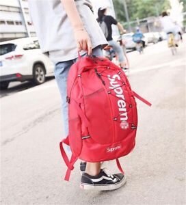 Top NEW Supreme 21ss Backpack Waterproof Box Logo Mountaineering Bags Travel