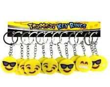 PACK OF 12 EMOJI EMOTICON SMILE FACE RUBBER KEYRINGS - KIDS TOY PARTY BAG FILLER