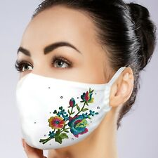 Facemask Filter Pocket Washable Polyester Rhinestone Embroidery Custom