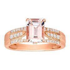 1 1/2 ct Morganite & 1/4 ct Diamond Ring in 14K Rose Gold