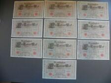Germany 10 alte Banknoten 1000 Mark 1910 (Rotes Siegel)